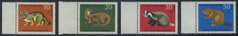 BUND 1968 Michel-Nummer 0549-0552 postfrisch SATZ(4) EINZELMARKEN RÄNDER links