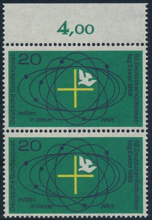 BUND 1968 Michel-Nummer 0568 postfrisch vert.PAAR RAND oben