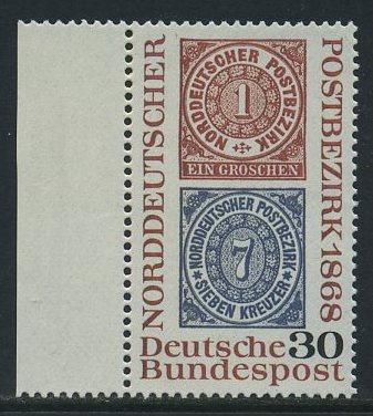 BUND 1968 Michel-Nummer 0569 postfrisch EINZELMARKE RAND links