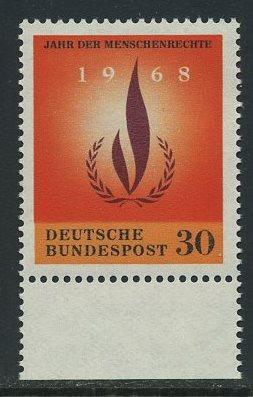 BUND 1968 Michel-Nummer 0575 postfrisch EINZELMARKE RAND unten