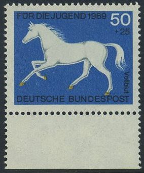 BUND 1969 Michel-Nummer 0581 postfrisch EINZELMARKE RAND unten