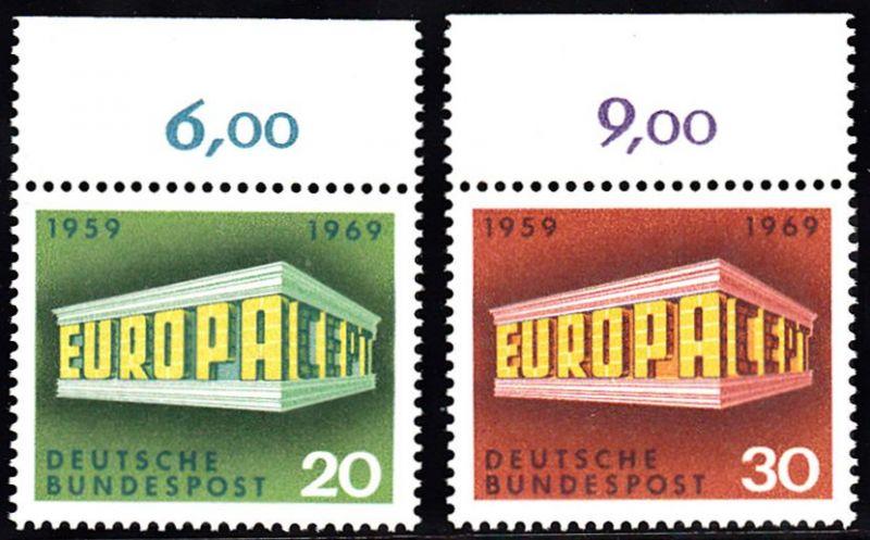 BUND 1969 Michel-Nummer 0583-0584 postfrisch SATZ(2) EINZELMARKEN RÄNDER oben