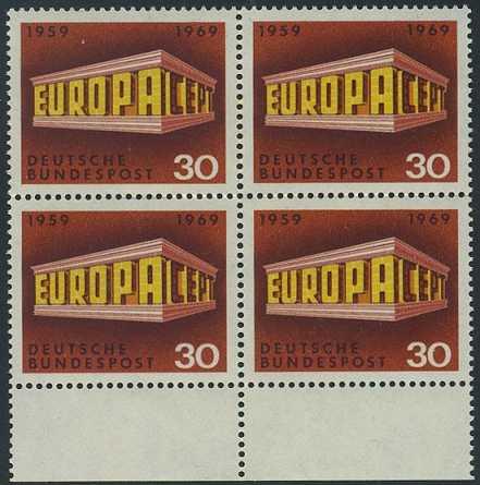 BUND 1969 Michel-Nummer 0584 postfrisch BLOCK RÄNDER unten