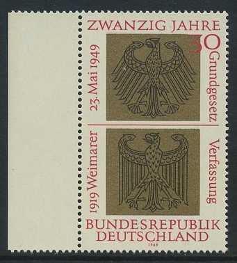 BUND 1969 Michel-Nummer 0585 postfrisch EINZELMARKE RAND links
