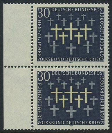 BUND 1969 Michel-Nummer 0586 postfrisch vert.PAAR RAND links