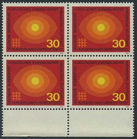 BUND 1969 Michel-Nummer 0595 postfrisch BLOCK RÄNDER unten