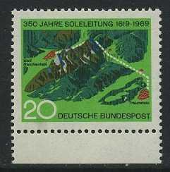 BUND 1969 Michel-Nummer 0602 postfrisch EINZELMARKE RAND unten