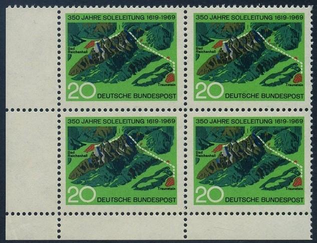 BUND 1969 Michel-Nummer 0602 postfrisch BLOCK ECKRAND unten links