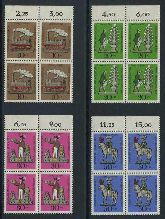 BUND 1969 Michel-Nummer 0604-0607 postfrisch SATZ(4) BLÖCKE RÄNDER oben (a)