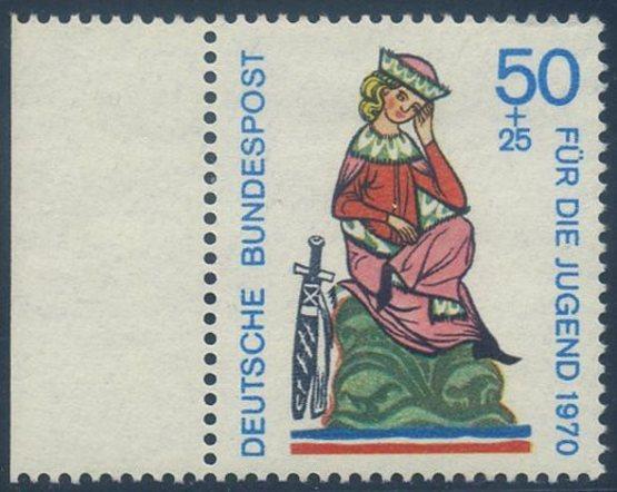 BUND 1970 Michel-Nummer 0615 postfrisch EINZELMARKE RAND links
