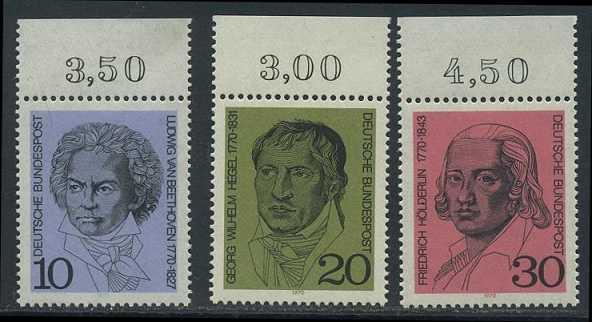BUND 1970 Michel-Nummer 0616-0618 postfrisch SATZ(3) EINZELMARKEN RÄNDER oben (a)
