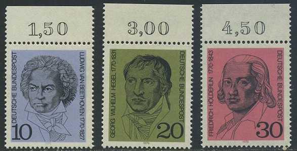 BUND 1970 Michel-Nummer 0616-0618 postfrisch SATZ(3) EINZELMARKEN RÄNDER oben (c)