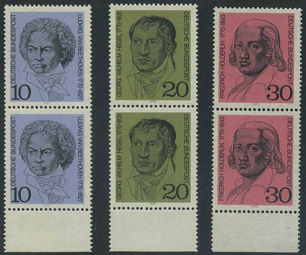 BUND 1970 Michel-Nummer 0616-0618 postfrisch SATZ(3) vert.PAARE RÄNDER unten