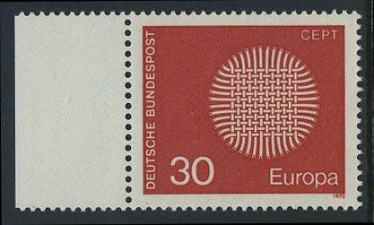 BUND 1970 Michel-Nummer 0621 postfrisch EINZELMARKE RAND links