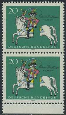 BUND 1970 Michel-Nummer 0623 postfrisch vert.PAAR RAND unten