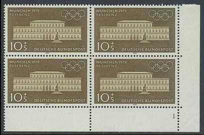 BUND 1970 Michel-Nummer 0624-0627 postfrisch SATZ(4) BLÖCKE ECKRAND unten rechts (a1)