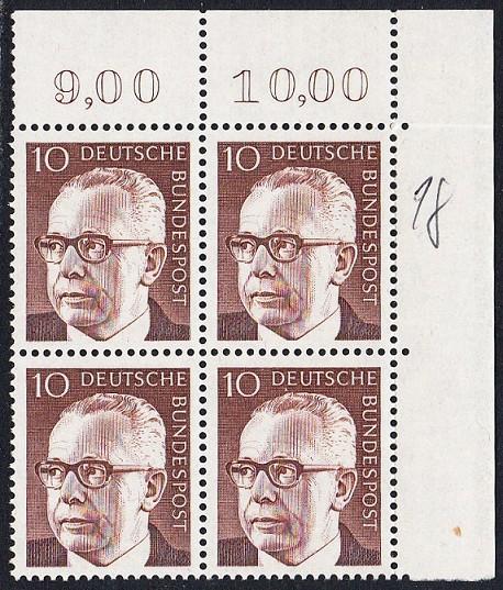 BUND 1970 Michel-Nummer 0636 postfrisch BLOCK ECKRAND oben rechts