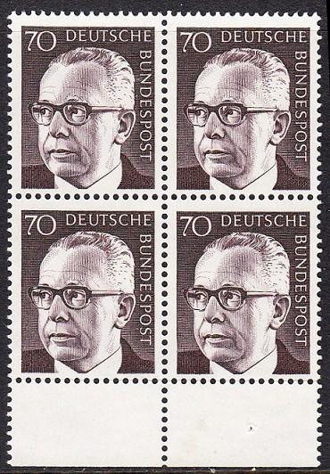 BUND 1970 Michel-Nummer 0641 postfrisch BLOCK RÄNDER unten