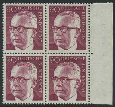 BUND 1970 Michel-Nummer 0643 postfrisch BLOCK RÄNDER rechts