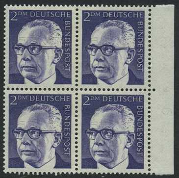 BUND 1970 Michel-Nummer 0645 postfrisch BLOCK RÄNDER rechts