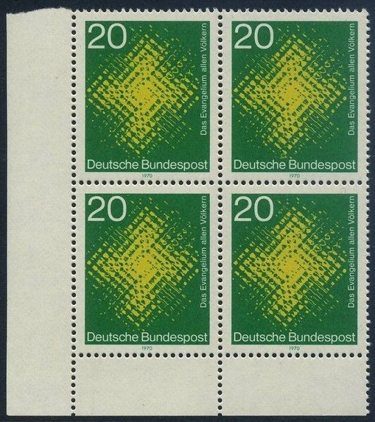 BUND 1970 Michel-Nummer 0647 postfrisch BLOCK ECKRAND unten links
