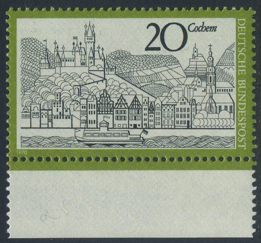 BUND 1970 Michel-Nummer 0649 postfrisch EINZELMARKE RAND unten