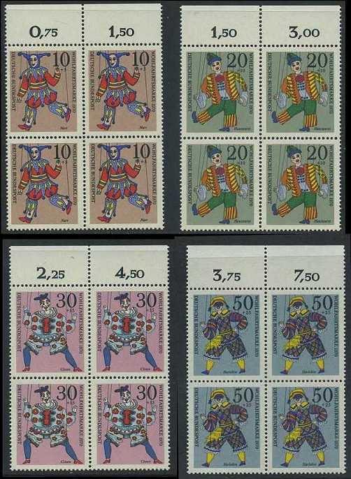BUND 1970 Michel-Nummer 0650-0653 postfrisch SATZ(4) BLÖCKE RÄNDER oben