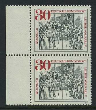 BUND 1971 Michel-Nummer 0669 postfrisch vert.PAAR RAND links