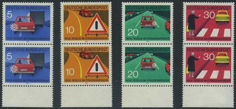 BUND 1971 Michel-Nummer 0670-0673 postfrisch SATZ(4) vert.PAARE RÄNDER unten