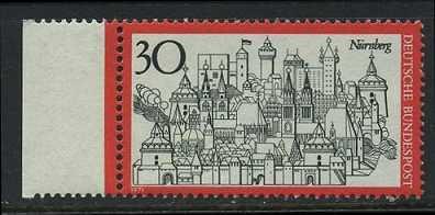 BUND 1971 Michel-Nummer 0678 postfrisch EINZELMARKE RAND links
