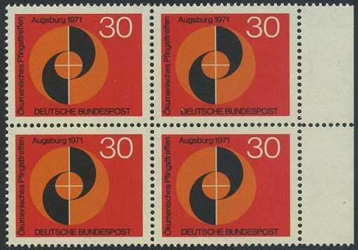 BUND 1971 Michel-Nummer 0679 postfrisch BLOCK RÄNDER rechts