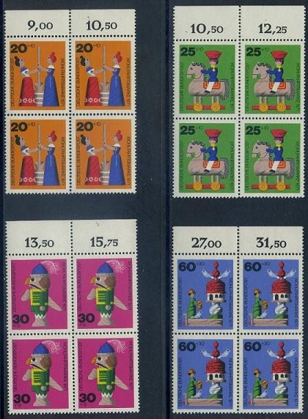 BUND 1971 Michel-Nummer 0705-0708 postfrisch SATZ(4) BLÖCKE RÄNDER oben