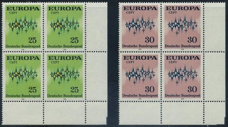 BUND 1972 Michel-Nummer 0716-0717 postfrisch SATZ(2) BLÖCKE ECKRAND unten rechts