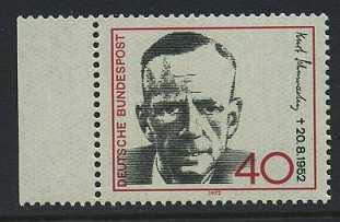 BUND 1972 Michel-Nummer 0738 postfrisch EINZELMARKE RAND links