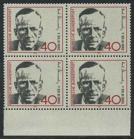 BUND 1972 Michel-Nummer 0738 postfrisch BLOCK RÄNDER unten