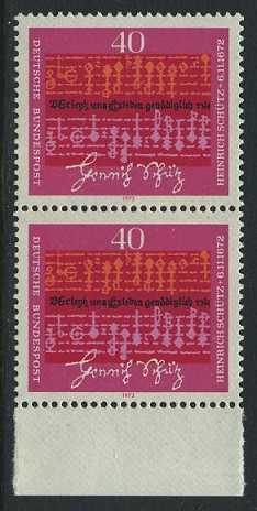 BUND 1972 Michel-Nummer 0741 postfrisch vert.PAAR RAND unten