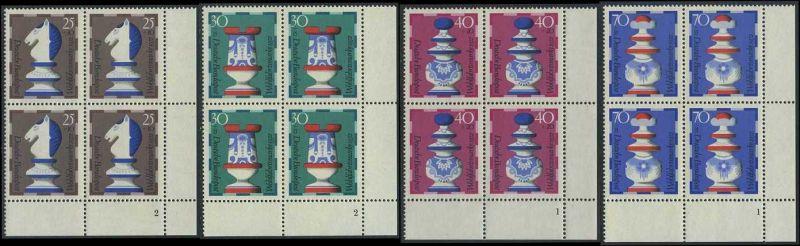 BUND 1972 Michel-Nummer 0742-0745 postfrisch SATZ(4) BLÖCKE ECKRAND unten rechts (FN)