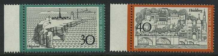 BUND 1972 Michel-Nummer 0746-0747 postfrisch SATZ(2) EINZELMARKEN RÄNDER links
