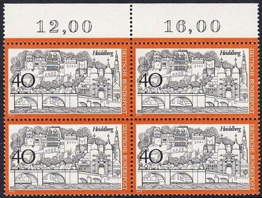 BUND 1972 Michel-Nummer 0747 postfrisch BLOCK RÄNDER oben