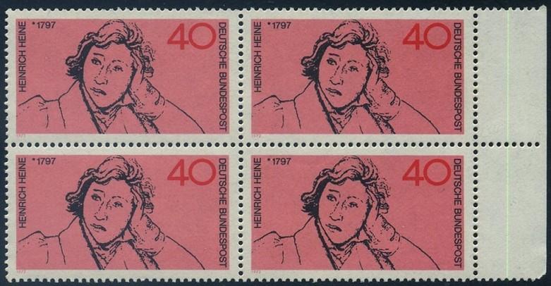 BUND 1972 Michel-Nummer 0750 postfrisch BLOCK RÄNDER rechts