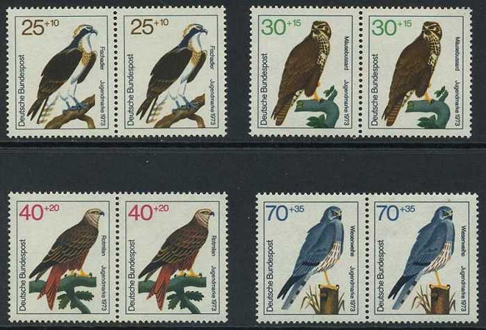 BUND 1973 Michel-Nummer 0754-0757 postfrisch SATZ(4) horiz.PAARE