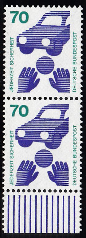 BUND 1973 Michel-Nummer 0773 postfrisch vert.PAAR RAND unten