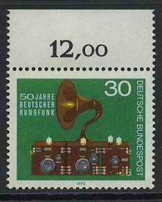BUND 1973 Michel-Nummer 0786 postfrisch EINZELMARKE RAND oben (c)