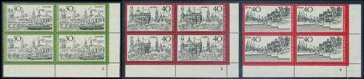 BUND 1973 Michel-Nummer 0787-0789 postfrisch SATZ(3) BLÖCKE ECKRAND unten rechts (FN/a)