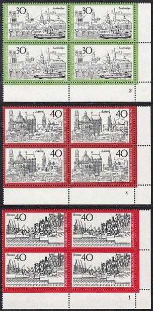 BUND 1973 Michel-Nummer 0787-0789 postfrisch SATZ(3) BLÖCKE ECKRAND unten rechts (FN/b)