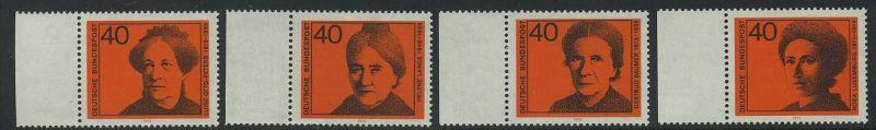 BUND 1974 Michel-Nummer 0791-0794 postfrisch SATZ(4) EINZELMARKEN RÄNDER links