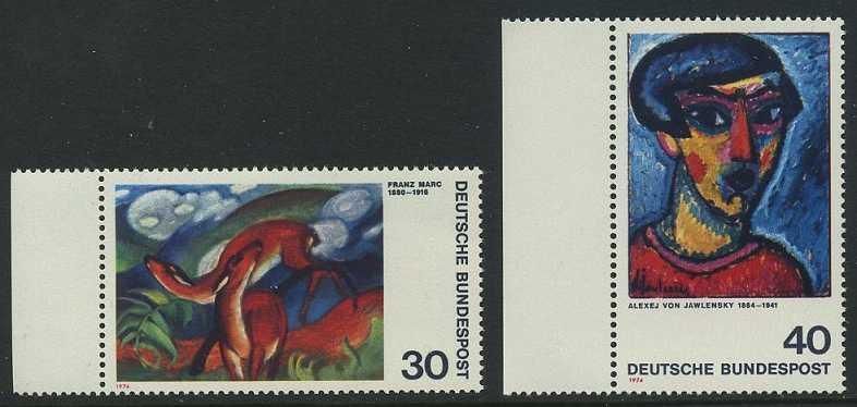 BUND 1974 Michel-Nummer 0798-0799 postfrisch SATZ(2) EINZELMARKEN RÄNDER links