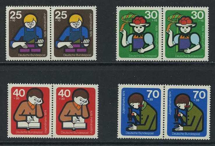 BUND 1974 Michel-Nummer 0800-0803 postfrisch SATZ(4) horiz.PAARE