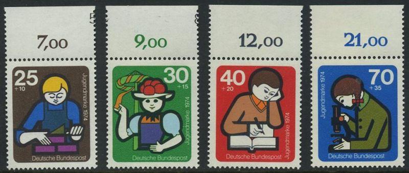 BUND 1974 Michel-Nummer 0800-0803 postfrisch SATZ(4) EINZELMARKEN RÄNDER oben