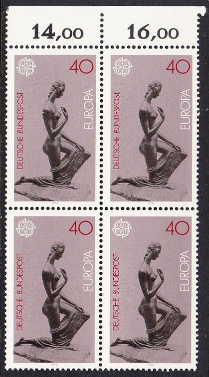 BUND 1974 Michel-Nummer 0805 postfrisch BLOCK RÄNDER oben